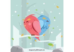 冬天的背景可爱的小鸟组成了一颗心_10218190102