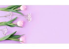 桌上有枝条的粉色郁金香花_424117801