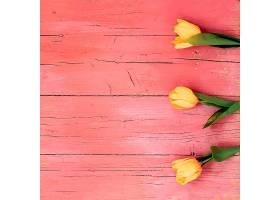 木地板上黄色郁金香花朵俯瞰_1003010301