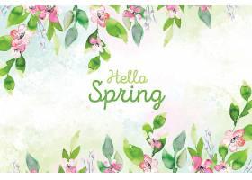 你好春天概念水彩画风格_70829580101图片