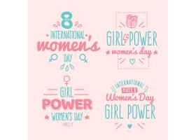 手绘字母国际妇女节徽章系列_126888770102