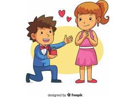 可爱的卡通风格求婚_29948120102