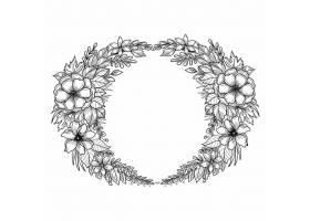 美轮美奂的婚礼圆形花框素描设计_12873229