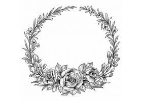 美轮美奂的婚礼圆形花框素描设计_12873232