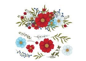 花卉剪贴画红色浅蓝色白色孤立的花和叶_5985194