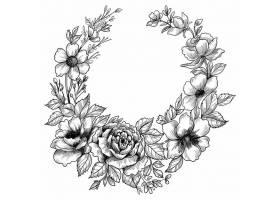 手绘花卉装饰素描框设计_12873187
