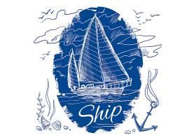 蓝色航海会徽帆船及海上背景矢量插图_1159452