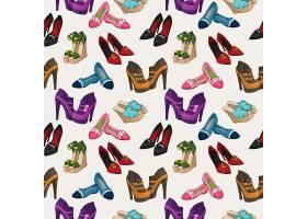 无缝女式时尚鞋样背景矢量插图_1158196