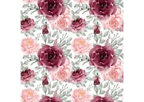 花朵玫瑰粉红色和勃艮第的无缝图案背景_13044898