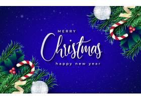 带有树枝和蓝色背景的逼真圣诞横幅_11210303