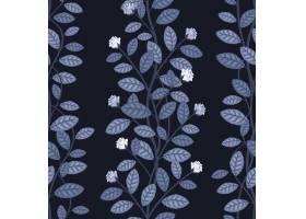 蓝色背景矢量插图上的无缝花卉图案_10601557