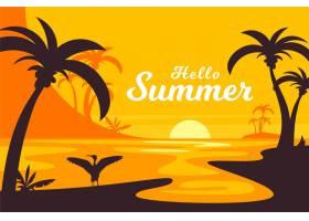 平面设计日落背景下的夏日手掌_8132223