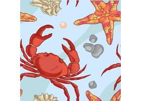 海星和螃蟹的无缝图案海事背景_3330172