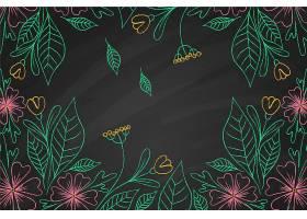 黑板背景上的热带花卉_6437488