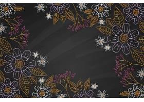 黑板背景上的金色树叶和花朵_6437489