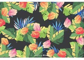 黑色背景上的水彩画花卉背景_5445521