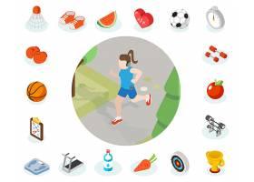 等长健康生活方式图标插图女性健康生活方_13400112