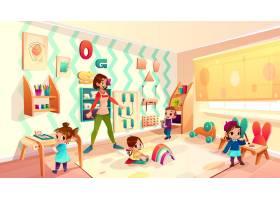 现代幼儿园女保育员幼儿园老师陪孩子玩耍_4393941