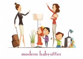 现代时尚保姆抱着宝宝和孩子们玩耍挥手告_4029187