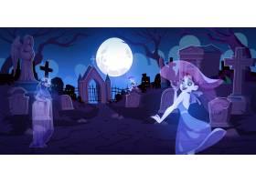 晚上有坟墓的老墓地上的鬼魂_13377770