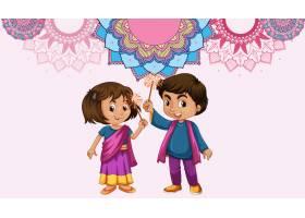 曼陀罗图案设计背景与印度女孩和男孩_7692910