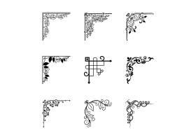 用于页面装饰的框架的矢量复古角点元素_10700746