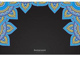 黑色框架带有抽象的东方曼陀罗_10867451