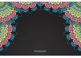 黑色框架带有抽象的东方曼陀罗_10867490