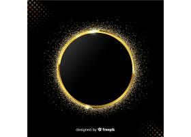 黑色背景上的金色闪闪发亮的镜框_5146743