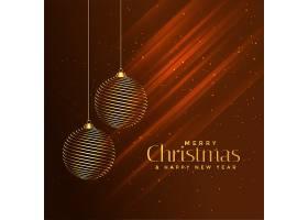 闪亮的棕色背景上的圣诞快乐金球_3466566