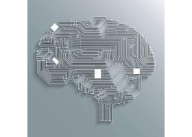 电子计算机技术电路板脑形背景或徽标孤立矢_1158222