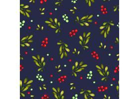 树叶和樱桃的无缝图案背景_11268559