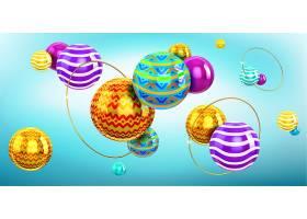带有3D球体和金环的抽象背景球的全息构图_11582454