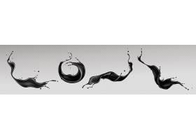 黑色液体飞溅漩涡和带有散射液滴的波浪_12632846