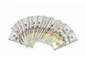 在白色背景的一百美元钞票_1012615