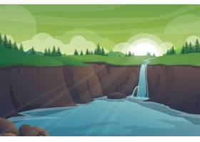 与岩石的热带自然风景瀑布峭壁密林风景_13330424
