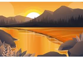 山河和森林的自然风景最好的场面有日落的_13330428