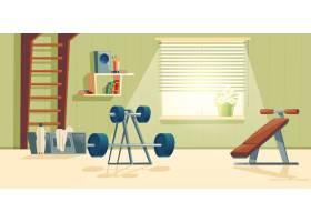 家庭健身房动画片背景与窗口的