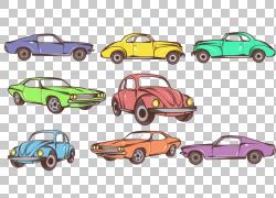 手绘汽车PNG剪贴画水彩画,信息图表,紧凑型汽车,老式汽车,汽车,颜