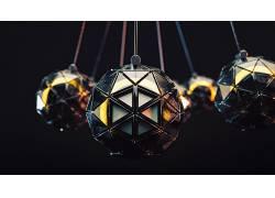 3D,给予,抽象,三角,球,黑色背景663856