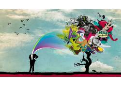 抽象,华美,鸟类,数字艺术,艺术品,树木8991