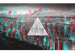 三角形,3D,立体图3D,市容,抽象123100