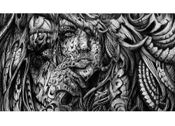 单色,黑色,白色,面对,数字艺术,艺术品,手,3D,抽象,张开嘴,妇女,