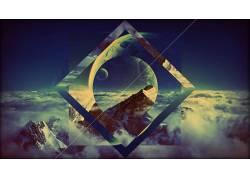 抽象,云,月亮,山,数字艺术,性质118584