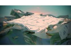 冰,海,日落,极简主义,Voronoi图,搅拌机,抽象,幻想艺术,想像力196