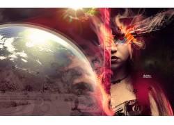 妇女,地球,空间,艺术品,数字艺术,面对,线,抽象6668