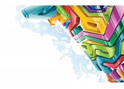抽象,数字艺术,华美,极简主义,3D,白色背景,黄色,绿色,蓝色,形状2