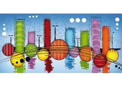 抽象,数字艺术,华美,画画,想像力,市容,圈,反射,极简主义170214