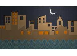 市,月亮,抽象,极简主义191426
