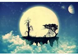 抽象,浮岛,轮廓,月亮,云,泛着,蜘蛛网149076